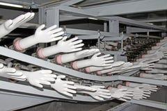 Linea di produzione dei guanti del butadiene dell'acrilonitrile Fotografia Stock