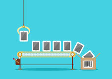 Linea di produzione dei telefoni della compressa dello schermo attivabile al tatto pacchetto Fotografia Stock