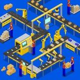 Linea di produzione sull'illustrazione di vettore del tessuto Immagini Stock