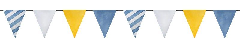 Linea di ripetizione senza cuciture con le bandiere marine decorative acquerelle variopinte illustrazione di stock