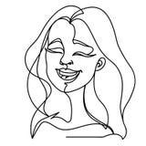 Linea di risata Art Portrait della donna una Espressione facciale femminile felice Siluetta lineare disegnata a mano della donna Immagine Stock Libera da Diritti