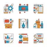 Linea di servizi dell'agenzia di progettazione icone messe Fotografia Stock