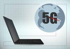 linea di struttura globale dell'incrocio della geometria del computer portatile di tecnologia 5G fondo futuristico del modello de illustrazione vettoriale