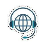 Linea di taglio di comunicazione di servizio della testa del pianeta del mondo Fotografia Stock Libera da Diritti