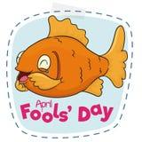 Linea di taglio divertente pesce per il giorno dei pesci d'aprile, illustrazione di vettore Fotografie Stock Libere da Diritti