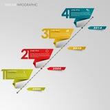 Linea di tempo carta piegata colorata grafico di informazioni Immagine Stock