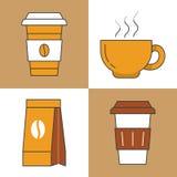 Linea di tempo del caffè Art Thin Icons Set con le tazze ed i fagioli di caffè Fotografia Stock Libera da Diritti