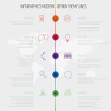 Linea di tempo modello di progettazione di infographics con l'insieme del diagramma. Idea a Fotografia Stock Libera da Diritti