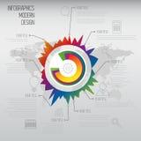 Linea di tempo modello di progettazione di infographics con l'insieme del diagramma. Idea a Fotografie Stock