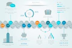Linea di tempo un grafico creativo di 2 anno gennaio a dicembre Fotografia Stock Libera da Diritti
