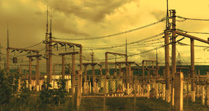 Linea di trasmissione 3 di elettricità Fotografia Stock Libera da Diritti