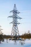 Linea di trasmissione di elettricità nella foresta di inverno Fotografie Stock Libere da Diritti