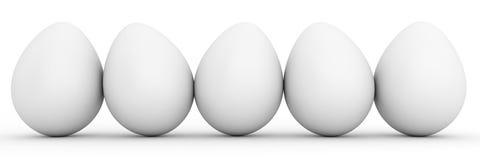 Linea di uova bianche in bianco Immagini Stock Libere da Diritti