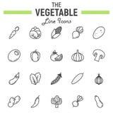 Linea di verdure insieme dell'icona, raccolta di simboli dell'alimento Immagine Stock Libera da Diritti