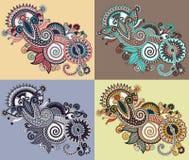 Linea digitale originale fiore decorato di tiraggio di arte Fotografia Stock