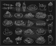 Linea disegnata a mano illustrazione del grafico di alimento assortito, dei dessert e delle bevande, insieme di simboli di vettor Fotografia Stock