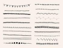 Linea disegnata a mano insieme dell'inchiostro del confine. Fotografia Stock Libera da Diritti