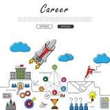 Linea disegnata a mano scarabocchio di vettore del concetto di crescita di carriera Fotografie Stock