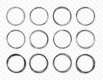 Linea disegnata a mano stabilita insieme del cerchio di schizzo I cerchi rotondi di scarabocchio circolare dello scarabocchio per immagini stock