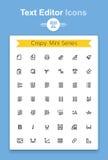 Linea documento di vettore di testo che pubblica l'insieme minuscolo dell'icona di applicazione Icone croccanti di contorno di Mi Fotografie Stock Libere da Diritti