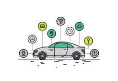 Linea Driverless illustrazione dell'automobile di stile Fotografie Stock Libere da Diritti