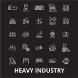 Linea editabile insieme dell'industria pesante di vettore delle icone su fondo nero Illustrazioni bianche del profilo dell'indust illustrazione vettoriale