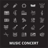 Linea editabile insieme di concerto di musica di vettore delle icone su fondo nero Illustrazioni bianche del profilo di concerto  illustrazione di stock