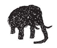 Linea elefante astratto su fondo bianco Immagine Stock