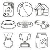 Linea elementi in bianco e nero di cura del cane di arte 9 royalty illustrazione gratis