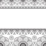Linea elemento del hennè di Mehndi dell'indiano del pizzo con la carta di modello dei cerchi per il tatuaggio su fondo bianco fotografia stock libera da diritti