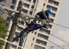 Linea elettrica ad alta tensione Immagine Stock