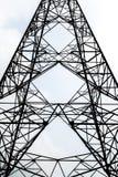 Linea elettrica ad alta tensione della posta di simmetria della siluetta Fotografia Stock Libera da Diritti