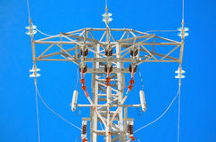 Linea elettrica ad alta tensione dettagliata Fotografia Stock Libera da Diritti