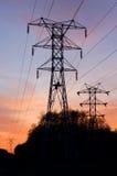 Linea elettrica ad alta tensione elettrica Fotografie Stock Libere da Diritti