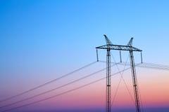 Linea elettrica al tramonto Fotografia Stock Libera da Diritti