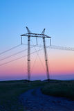 Linea elettrica al tramonto Fotografie Stock