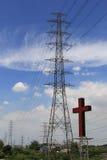 Linea elettrica con l'incrocio Immagini Stock Libere da Diritti