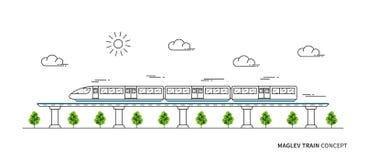 Linea elettrica concetto del treno veloce di arte Immagine Stock