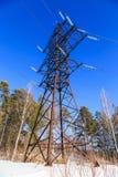 Linea elettrica di punto di vista foresta della neve di gelo invernale Fotografia Stock Libera da Diritti