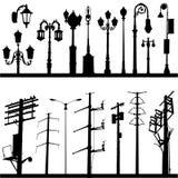 Linea elettrica e vettore del lamppost Fotografie Stock Libere da Diritti
