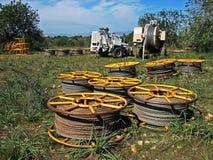Linea elettrica impianti dell'installazione Fotografia Stock Libera da Diritti