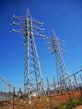 Linea elettrica pali Fotografia Stock Libera da Diritti