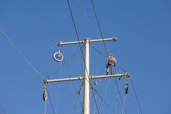 Linea elettrica riparazione Fotografia Stock