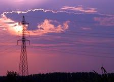 Linea elettrica siluetta fotografia stock