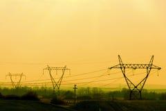 Linea elettrica torri della trasmissione Fotografia Stock Libera da Diritti