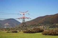 Linea elettrica vicino a Vrutky slovakia fotografie stock libere da diritti