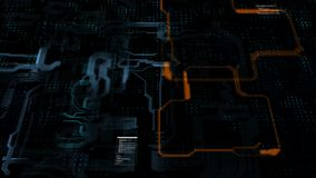Linea elettronica del circuito astratto del fondo per il concetto di tecnologia con buio basso di profondità di campo e grano ela archivi video