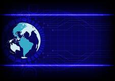 Linea elettronica fondo blu di tecnologia astratta del mondo di colore Fotografie Stock