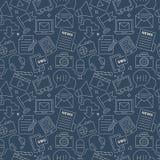 Linea elettronica insieme di media del modello dell'icona Immagini Stock