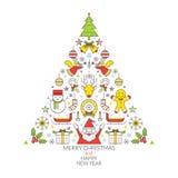 Linea etichetta di Natale delle icone Immagini Stock